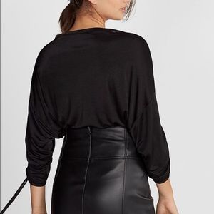 New Express ruched drawstring sleeve top